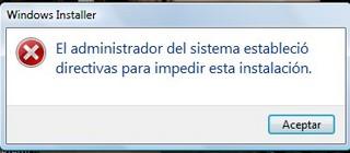 El administrador del sistema estableció directivas para impedir esta instalación.